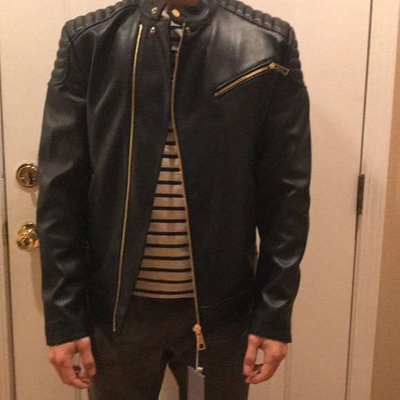 c6a6d18e Zara men's faux leather biker jacket NWT